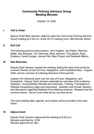 Community Policing Advisory Group Meeting Minutes