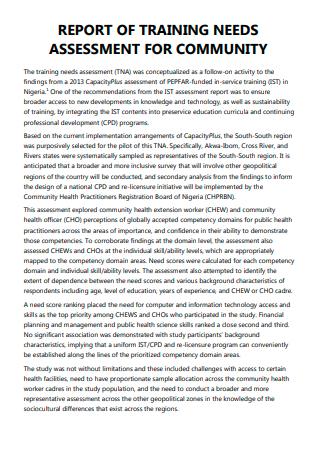 Community Training Needs Assessment Report