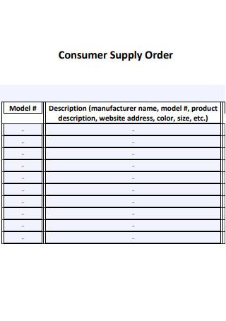 Consumer Supply Order