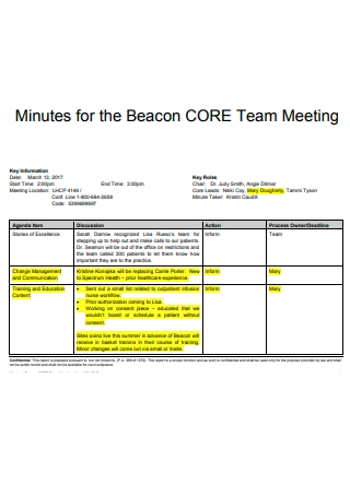 Core Team Meeting Minutes