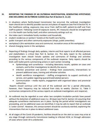 Covid 19 Outbreak Investigation Report