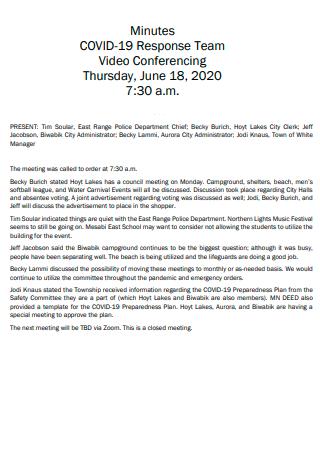 Covid 19 Response Team Meeting Minutes