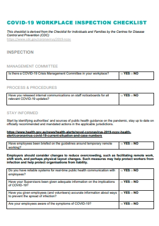 Covid 19 Workplace Inspection Checklist