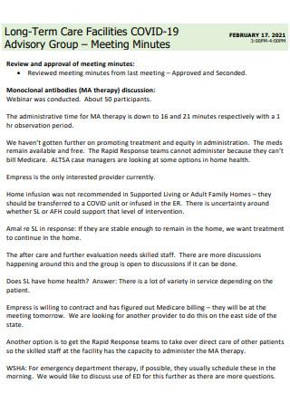 Covid19 Advisory Group Meeting Minutes