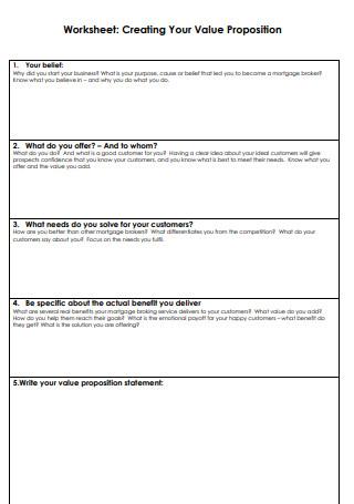 Creating Value Propositions Worksheet