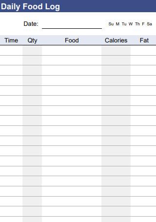 Daily Food Log Spreadsheet