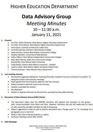 Data Advisory Group Meeting Minutes