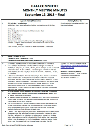 Data Committee Monthly Meeting Minutes