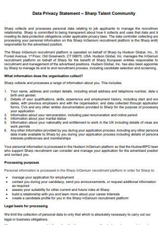 Data Privacy Statement Sharp Talent Community