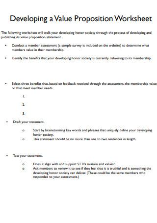 Developing Value Propositions Worksheet