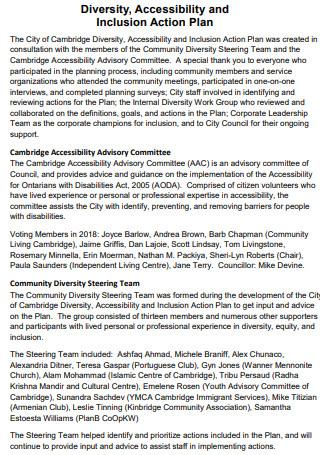 Diversity Accessibility Action Plan