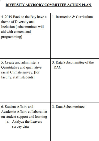 Diversity Advisory Commitee Action Plans