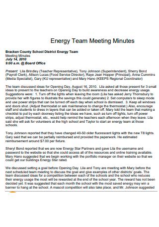 Energy Team Meeting Minutes
