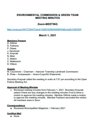 Environmental Commission Team Meeting Minutes