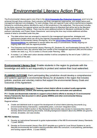 Environmental Literacy Action Plan
