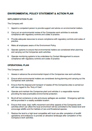 Environmental Policy Statement and Action Plan