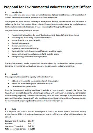 Environmental Volunteer Project Officer Proposal