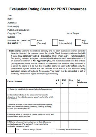 Evaluation Rating Sheet