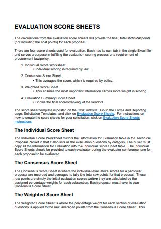 Evaluation Score Sheet