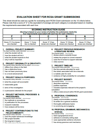 Evaluation Sheet For Grant Submissions