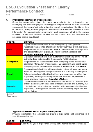 Evaluation Sheet for an Energy Performance Contract