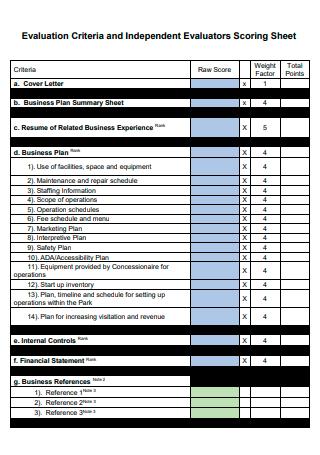 Evaluation and Independent Evaluators Scoring Sheet