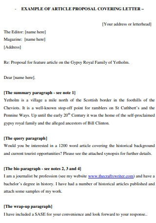 Example of Article Proposal Covering Letter