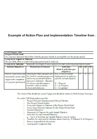 Example of One Page Action Plan