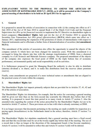 Explanatory Notes to Article Proposal