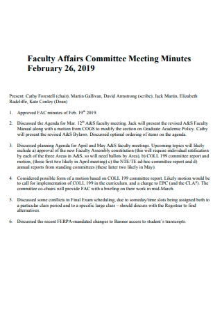 Faculty Affairs Committee Meeting Minutes