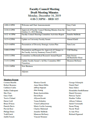 Faculty Council Meeting Minutes