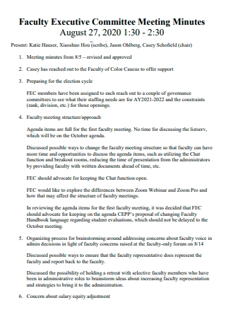 Faculty Executive Committee Meeting Minutes