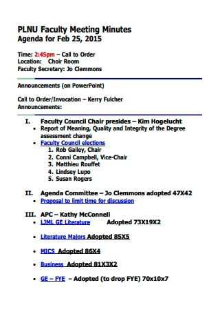 Faculty Meeting Minutes Agenda