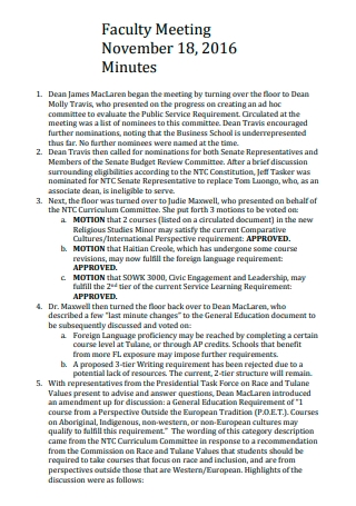 Faculty Meeting Minutes Format