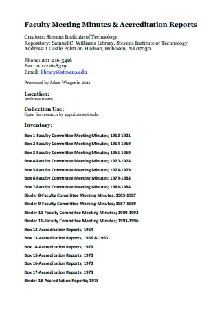 Faculty Meeting Minutes and Accreditation Reports