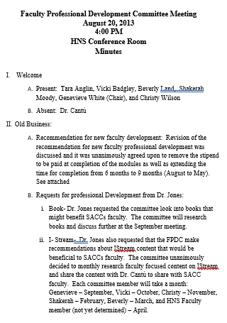 Faculty Professional Development Committee Meeting Minutes