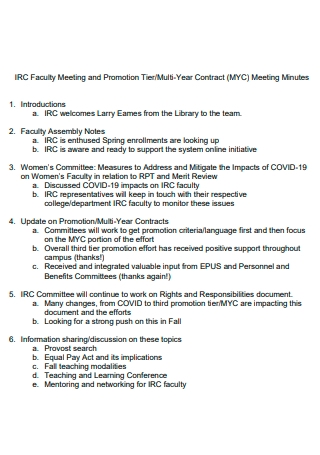 Faculty and Promotion Contract Meeting Minutes