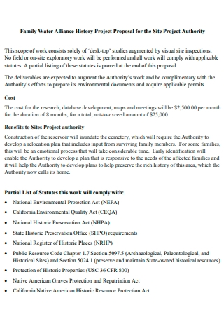 Family Water Alliance History Project Proposal
