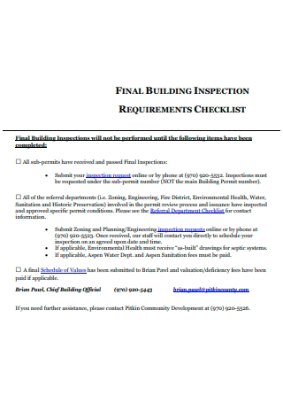 Final Building Inspection Requirements Checklist