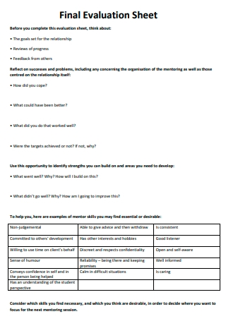 Final Evaluation Sheet