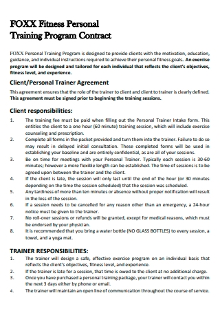 Fitness Personal Training Program Contract