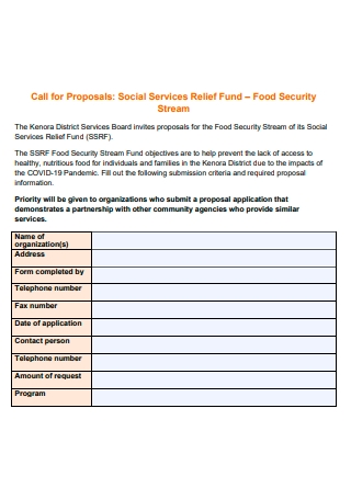 Food Security Stream Proposal