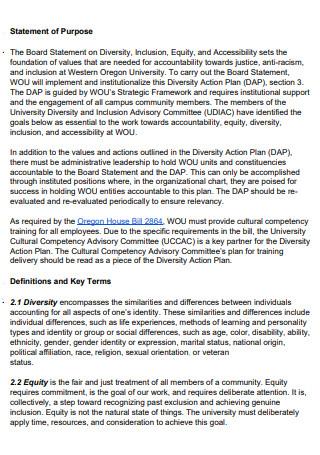 Formal Diversity Action Plan