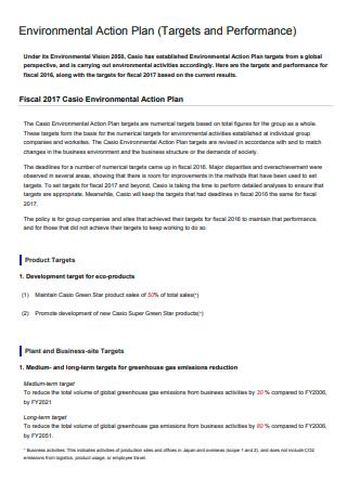 Formal Environmental Action Plan
