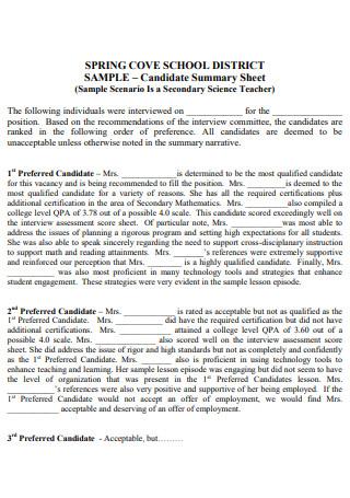 Formal Interview Summary Sheet