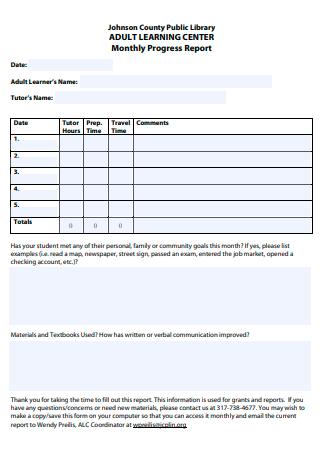 Formal Monthly Progress Report