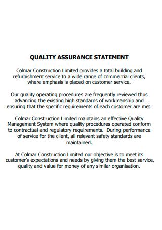 Formal Quality Assurance Statement