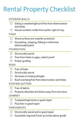 Formal Rental Property Checklist