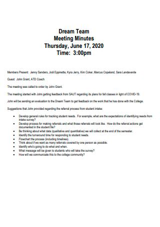 Formal Team Meeting Minutes