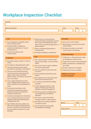 Formal Workplace Inspection Checklist